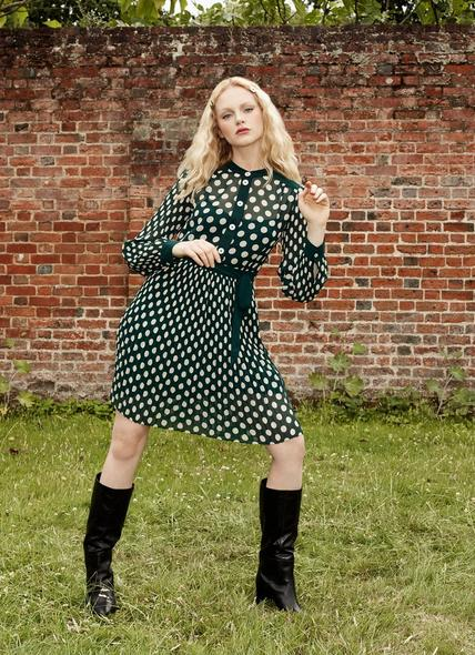 Cora Green & Cream Spot Print Pleated Dress