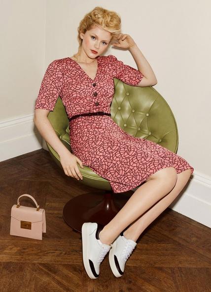 Daphne Pink Rope Print Dress