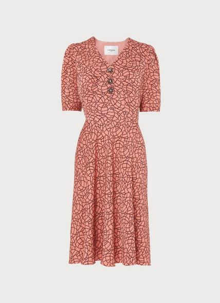 Daphne Pink Rope Print Dress