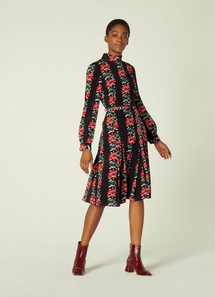 Eames Floral Stripe Silk Dress