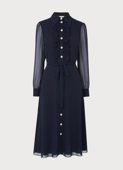 Ensor Navy Polka Dot Shirt Dress