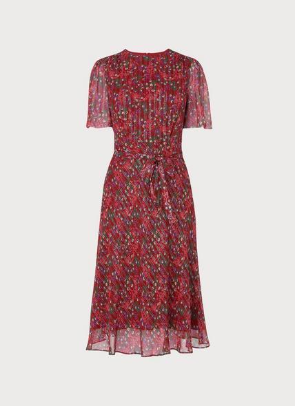 Eve Red Floral Print Silk & Lurex Dress