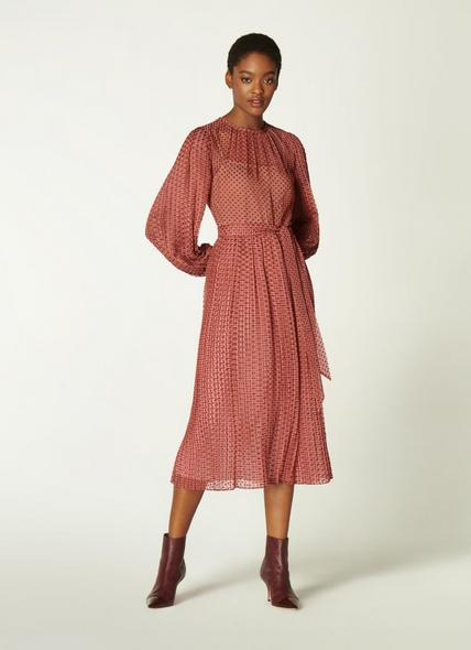 Felix Pink Devoré Spot Pleated Dress