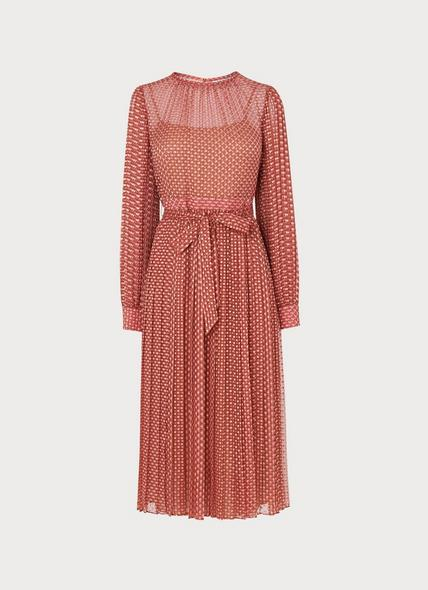 Felix Pink Devoré Spot Pleated Dress