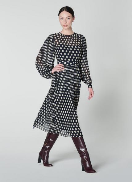 Felix Navy & Ivory Spot Pleated Dress