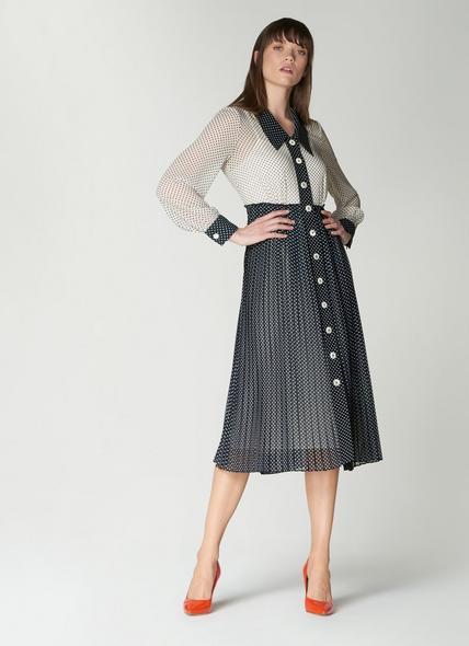 Fozette Polka Dot Shirt Dress
