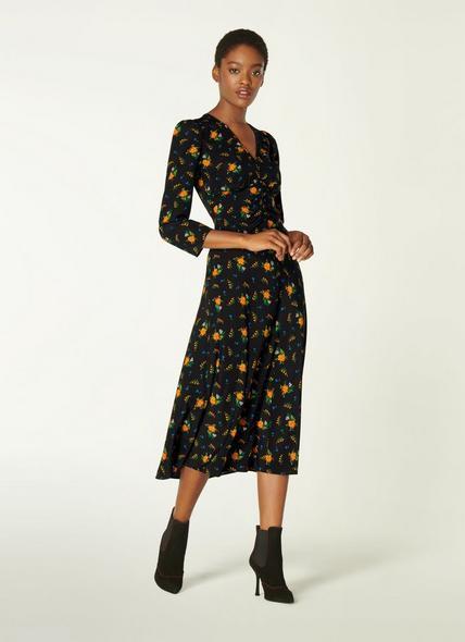 Gabrielle Black Floral Print Stretch Silk Midi Dress
