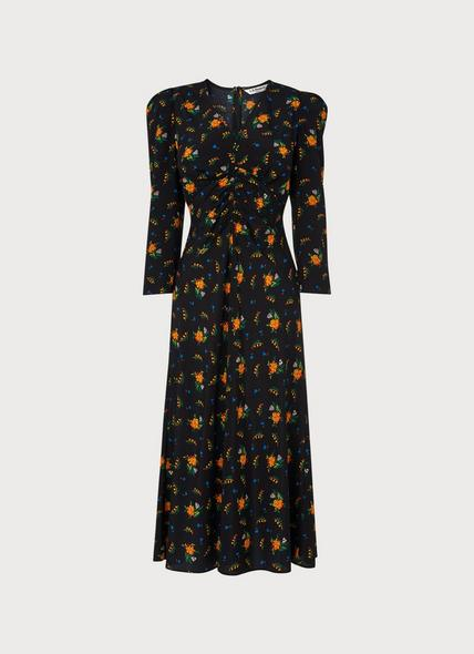 Gabrielle Black Floral Print Stretch Silk Midi Dress
