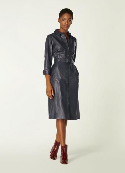 Gaia Navy Leather Shirt Dress