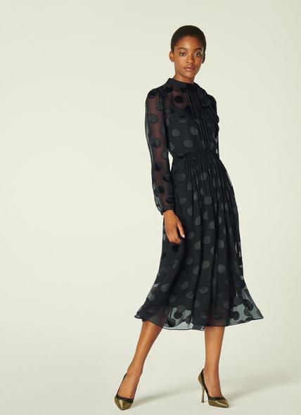 Gish Black Sheer Spot Silk-Blend Dress