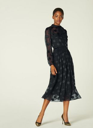 Gish Black Sheer Spot Silk-Blend Dress