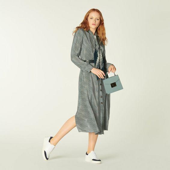 Hepworth Green & Cream Stripe Silk Shirt Dress