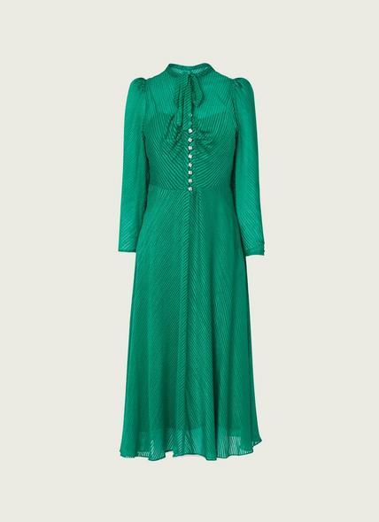 Kiera Green Silk Burnout Stripe Midi Dress