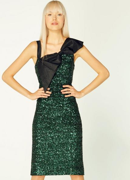 Kitt Green Sequin Bow Detail Dress