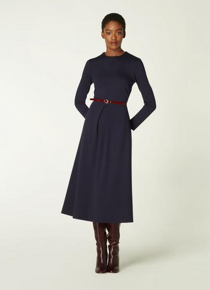 Maria Navy Jersey Fit & Flare Dress