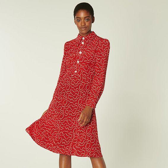Mathilde Red & Cream Pearl Print Silk Tea Dress