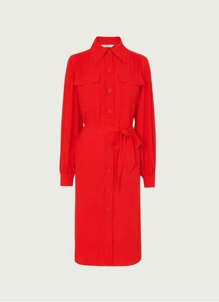 Miller Red Crepe Shirt Dress