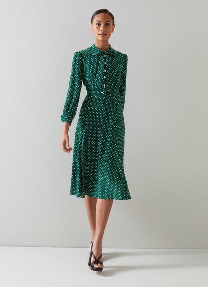 Mortimer Green & Cream Polka Dot Silk Dress