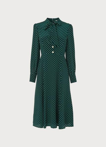 Mortimer Green & Cream Polka Dot Silk Dress