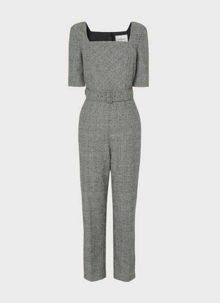 Sage Prince of Wales Check Jumpsuit