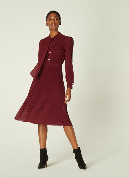 Singer Burgundy Pleated Georgette Dress