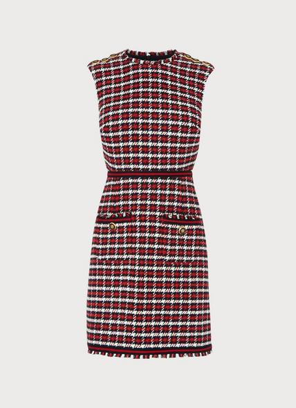 Therese Red Check Tweed Dress
