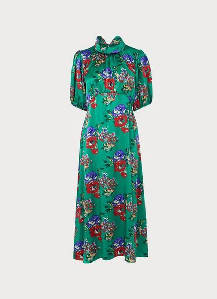 Vita Green Floral Print Silk Midi Dress