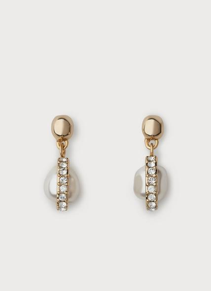 Darcia Gold, Pearl & Swarovski Crystal Drop Earrings