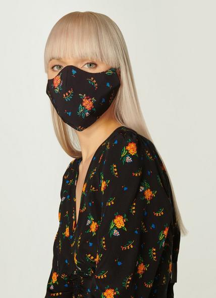 Gabrielle Black Floral Print Face Mask
