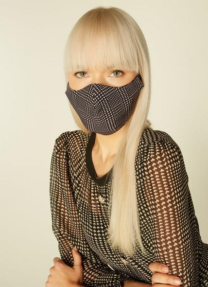Lyra Black & White Houndstooth Face Mask