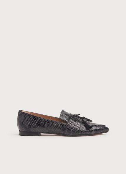Celina Grey Snake Print Leather Tassel Loafers