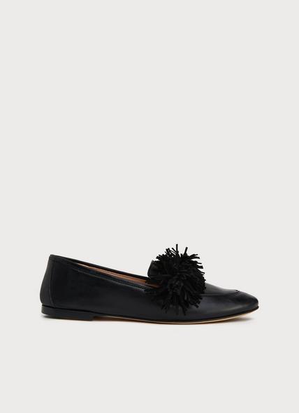 Lera Black Leather Tassel Loafers
