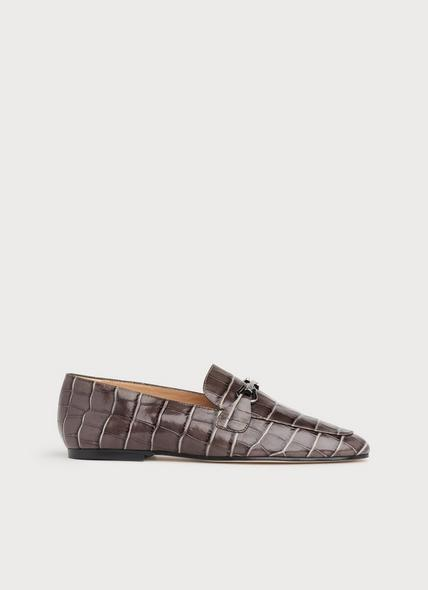 Marina Grey Croc-Effect Leather Loafers