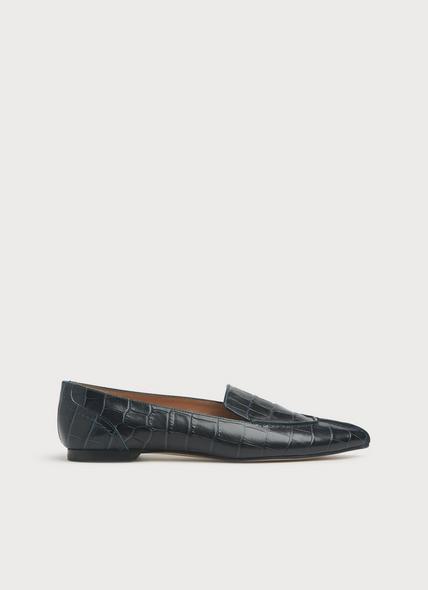 Princeton Teal Croc-effect Leather Flats