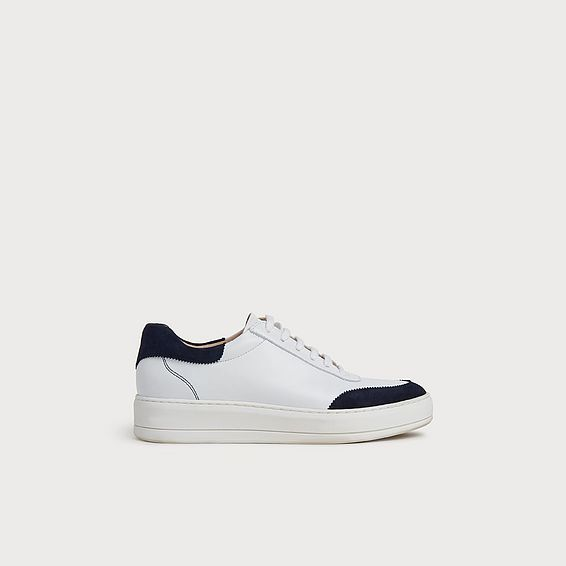 Teddy White Leather & Navy Suede Flatform Trainers