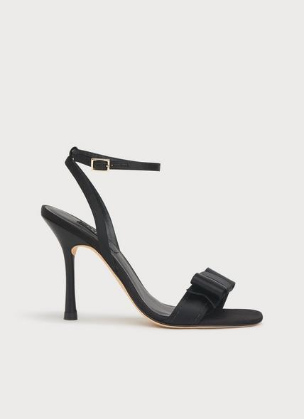 Nancy Black Satin Sandals