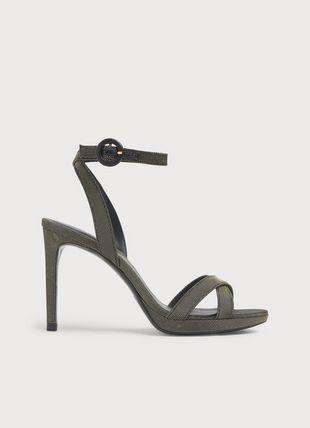 Neath Black & Gold Mesh Platform Sandals