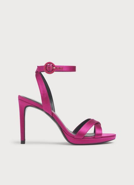Neath Pink Satin Platform Sandals