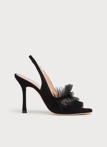 Newbury Black Suede & Mesh Peeptoe Sandals