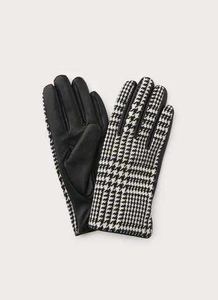 Kylie Houndstooth & Black Leather Gloves