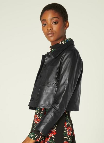 Aubree Black Leather Cropped Jacket