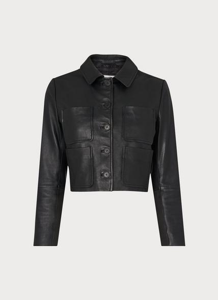 Aubree Black Leather Cropped Jacket