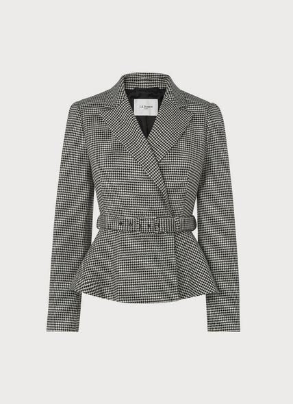 Nina Black & White Dogtooth Peplum Jacket