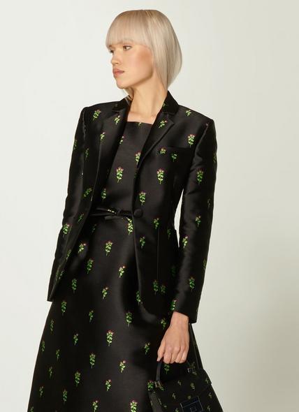 Rosalind Black Floral Jacquard Jacket