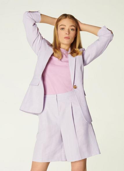 Sweetpea Lilac Linen-Blend Jacket