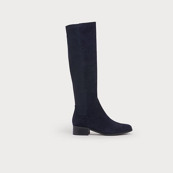 Bella Navy Suede & Elastic Knee Boots
