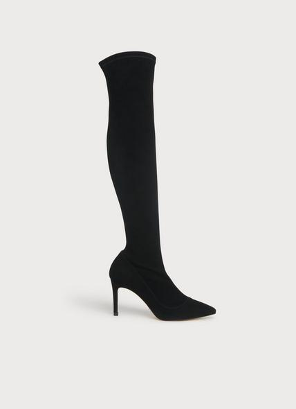 Blake Black Stretch Suede Above-The-Knee Boots