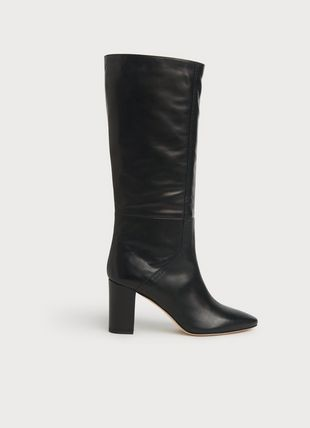 Bobbi Black Leather Slouch Knee Boots