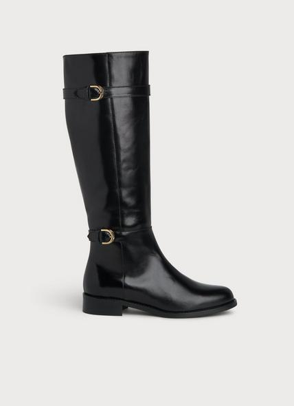 Bryn Black Leather Riding Boots