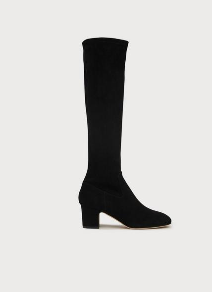 Kiran Black Stretch Suede Knee Boots